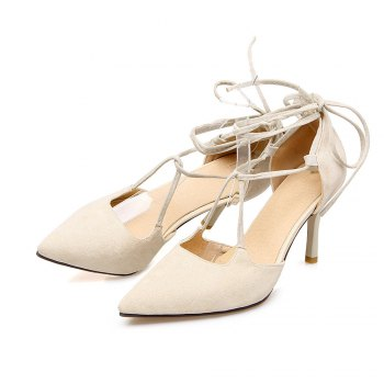 Miss Shoes 88-11 Spigot and Sweet Lace-Up Shoes - BEIGE 32