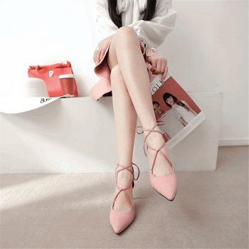 Miss Shoes 88-11 Spigot and Sweet Lace-Up Shoes - PINK 38