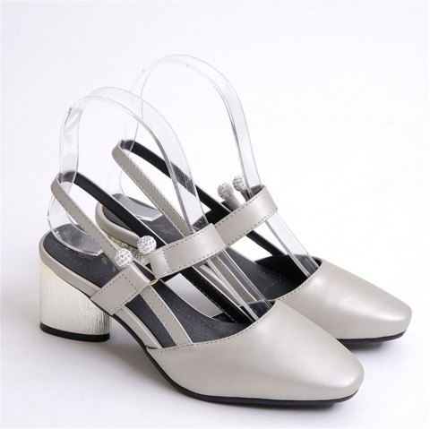 Shoe Miss 519 Square Head and Fashion Casual Shoes - SILVER 38