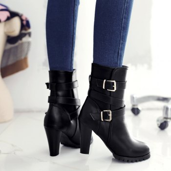 Miss Shoes 98-3 Thick and Buckled Boots - BLACK 39