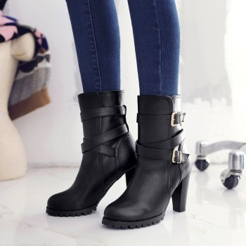 Miss Shoes 98-3 Thick and Buckled Boots - BLACK 38