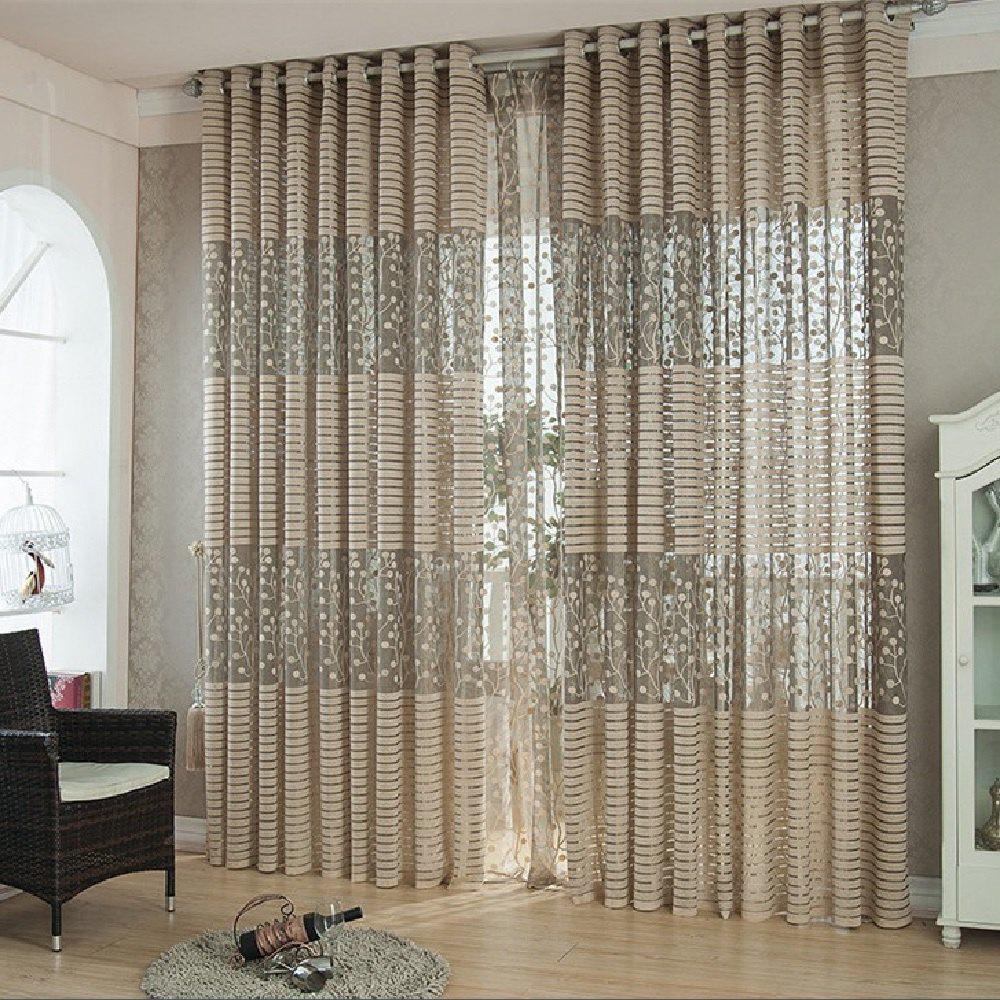 High Grade Jacquard Hollow Ventilation Window Curtains - GRAY FLAT FRONT