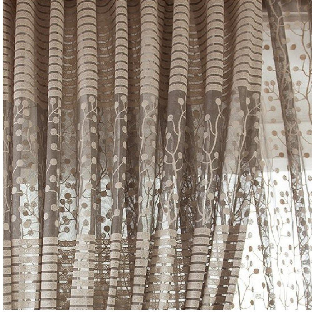 High Grade Jacquard Curtains Window Screens Hollow Ventilation Bedroom Living Room - GRAY FLAT FRONT