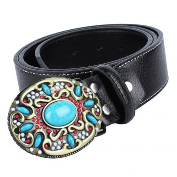 Blue Gem Belt Leather - BLACK LEATHER BAND