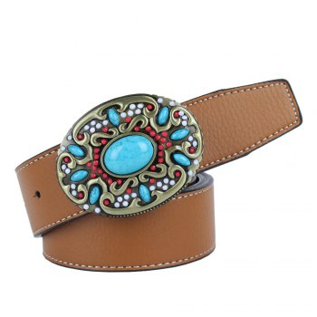 Ceinture en cuir bleu - Jaune LEATHER BAND