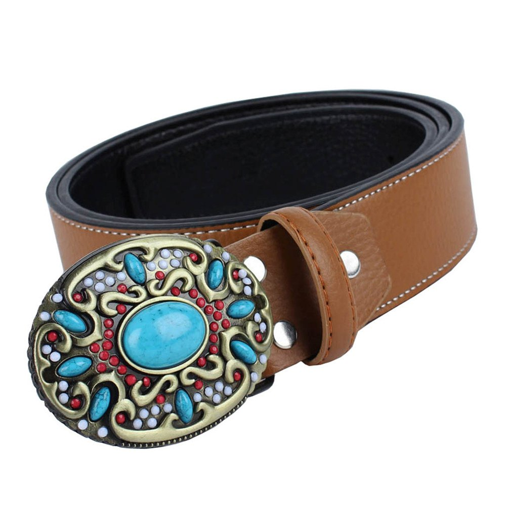 Blue Gem Belt Leather - YELLOW LEATHER BAND