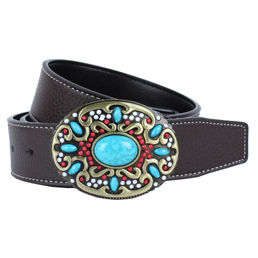 Blue Gem Belt Leather - COFFEE LEATHER BAND