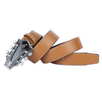 Guitar Belt Leather - YELLOW LEATHER BAND