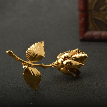 Vintage Rose Brooches for Women Elegant Brooches & Pins High Quality Fashion Jewelry Copper Brooch - GOLDEN