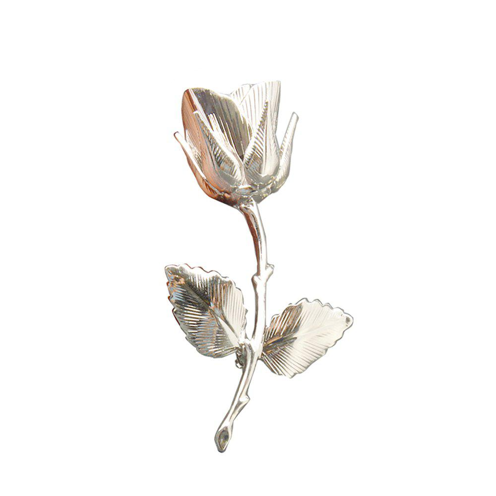Vintage Rose Brooches for Women Elegant Brooches & Pins High Quality Fashion Jewelry Copper Brooch - SILVER