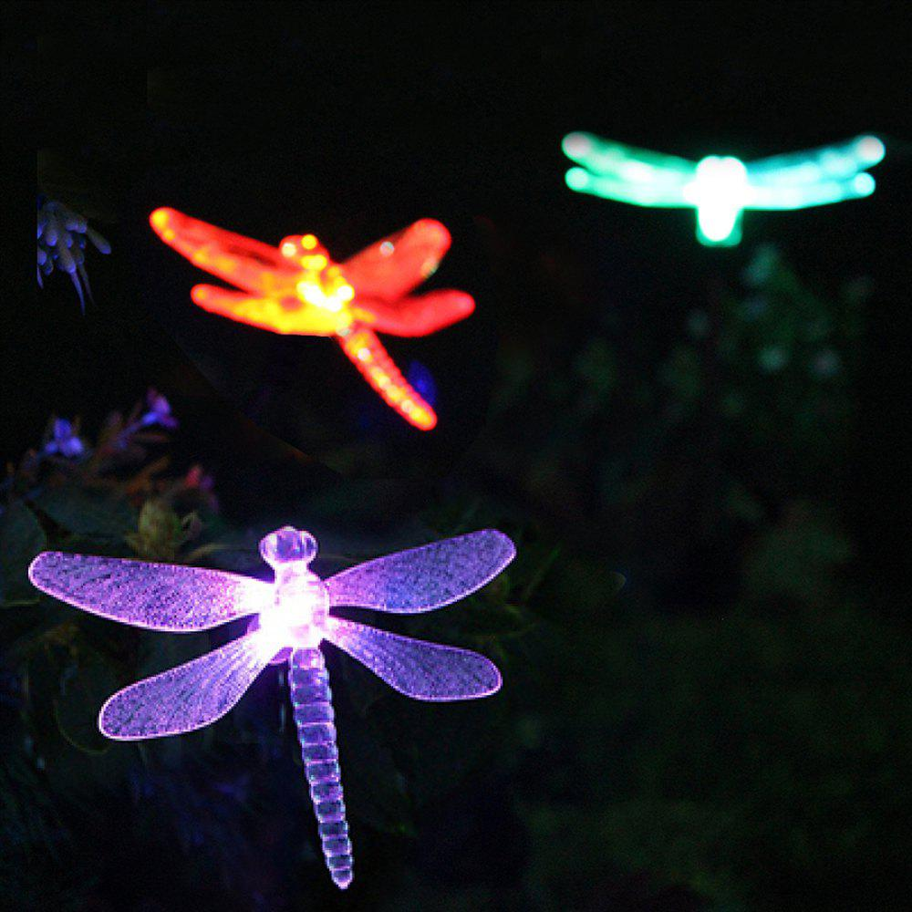 Solar Powered Color Changing Outdoor Garden Pathway Stake LED Dragonfly Light 1PC 1 led seven color solar powered self recharged plastic lawn light pathway garden lamp black 3pcs