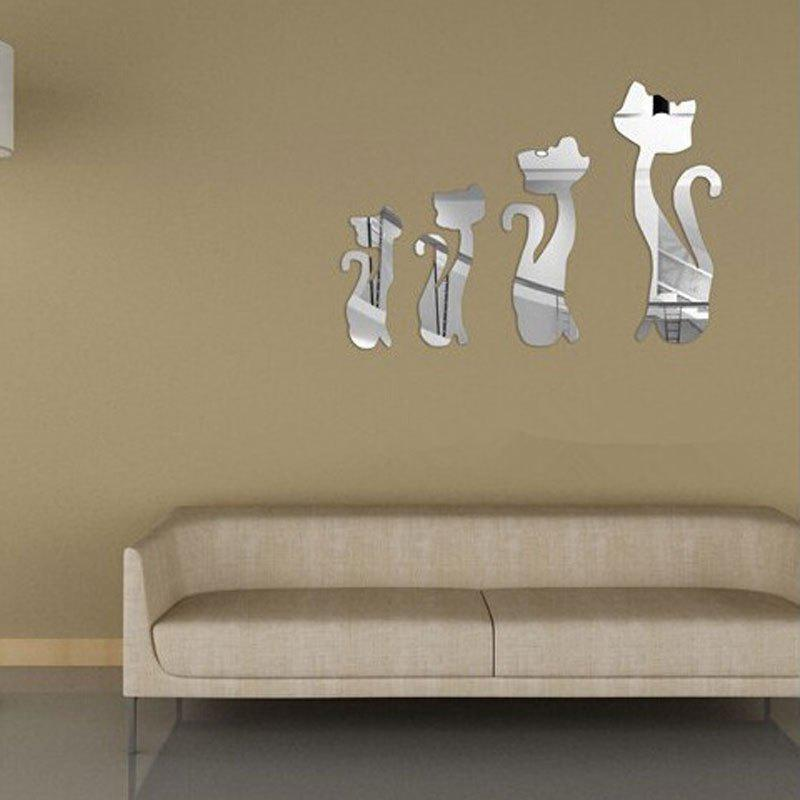 Cute Cats 3D Acrylic Removable Wall Mirror Stickers