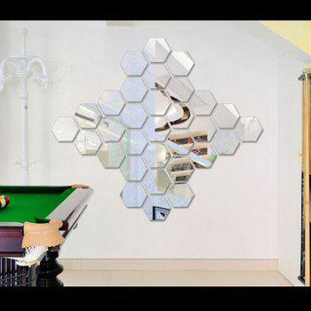 Diy Hexagon 3D Art Mirror Wall Stickers for Home Wall Decal - SILVER