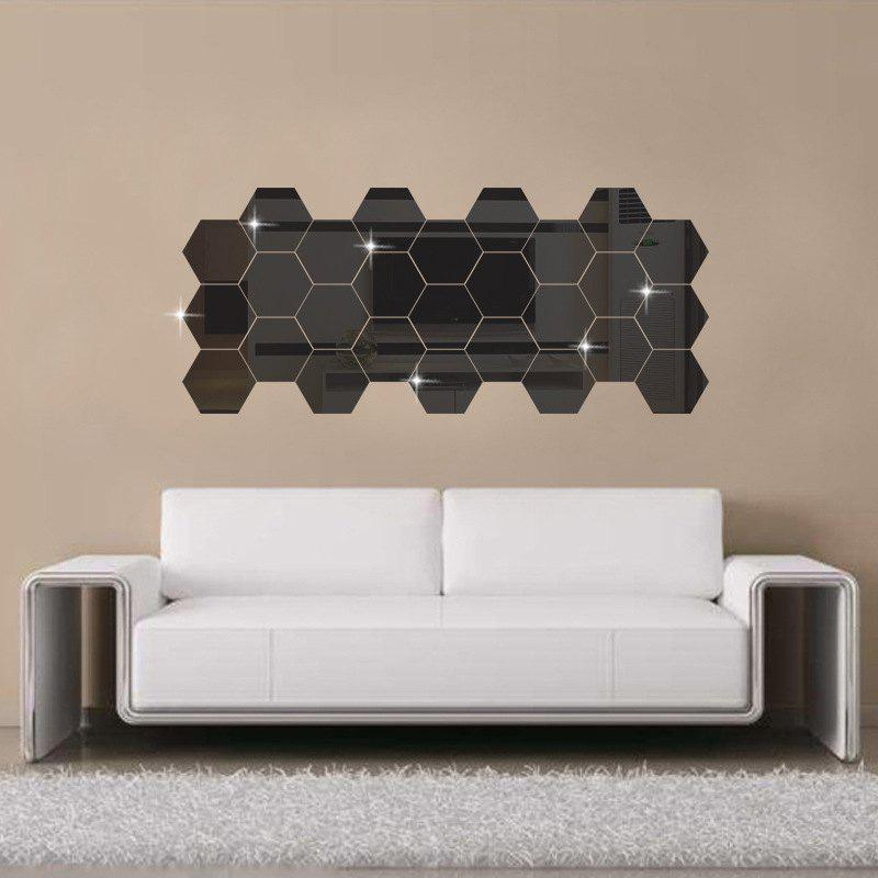 Diy Hexagon 3D Art Mirror Wall Stickers For Home Wall Decal   BLACK