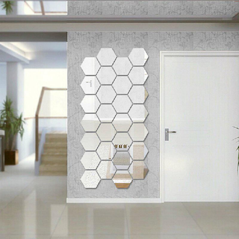 Hexagon 3D Art Diy Mirror Wall Stickers for Home Wall Decal silver wings silver wings кольцо 010033 187 113