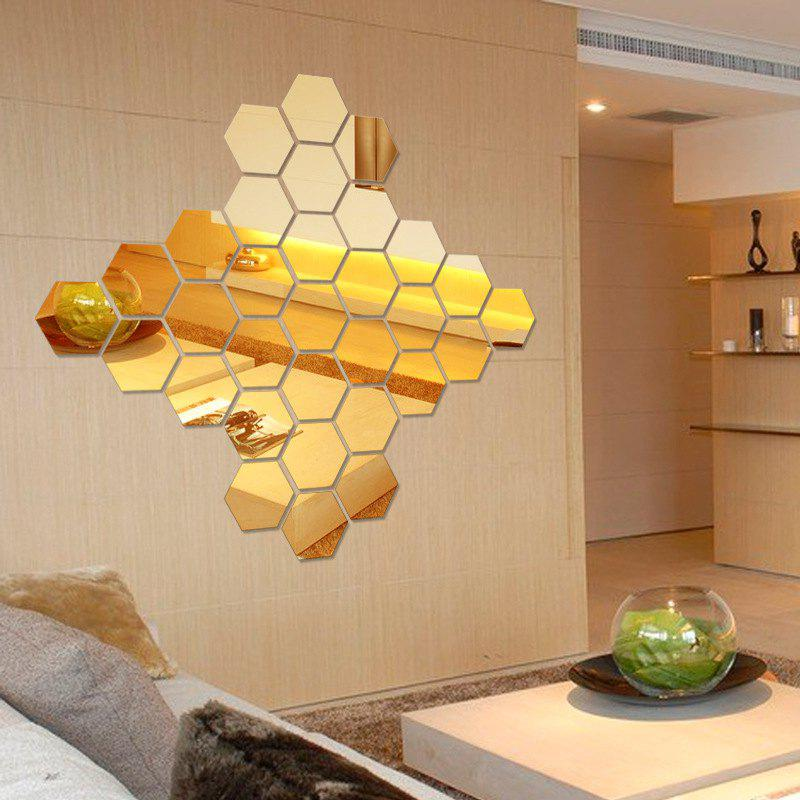 2018 Hexagon 3D Art Diy Mirror Wall Stickers for Home Wall Decal ...