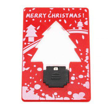 Christmas Tree Shape LED Pocket Lamp Mini Portable Folding led Pocket Wallet Credit card light - RED