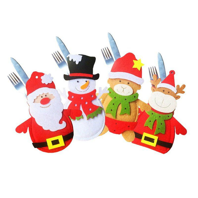 4pcs Good Quality Christmas Knife And Fork Bags - COLORMIX