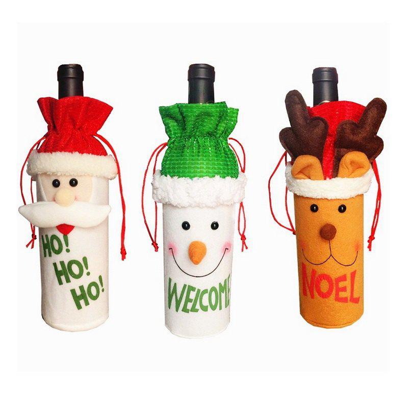 3pcs Good Quality Christmas Ornaments Wine Bottle Slipcovers - COLORMIX