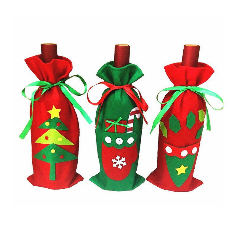 3pcs Good Quality Christmas Accessory Wine Bottle Slipcovers - COLORMIX