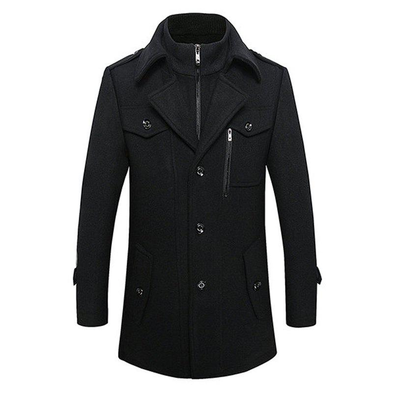 Mens Winter Thickened Warm Woolen Coat Turndown Collar Zipper Button Outwear button up vertical pockets woolen coat