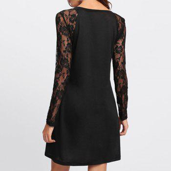 Women's Sexy V-Neck Lace Stitching Long-Sleeved Dress - BLACK XL
