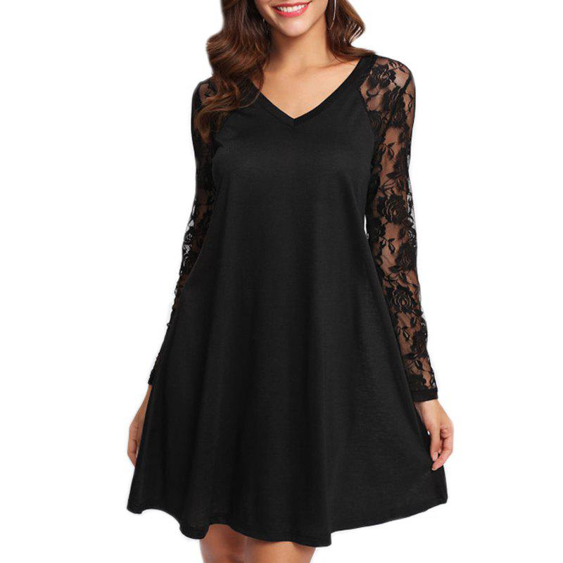 Women's Sexy V-Neck Lace Stitching Long-Sleeved Dress - BLACK S