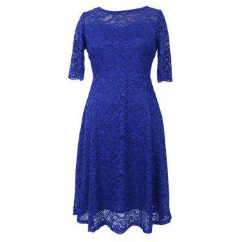 New Summer Fashion Casual O neck Three Quarter Sleeve Lace Hollow Out Slim Solid Women Dress