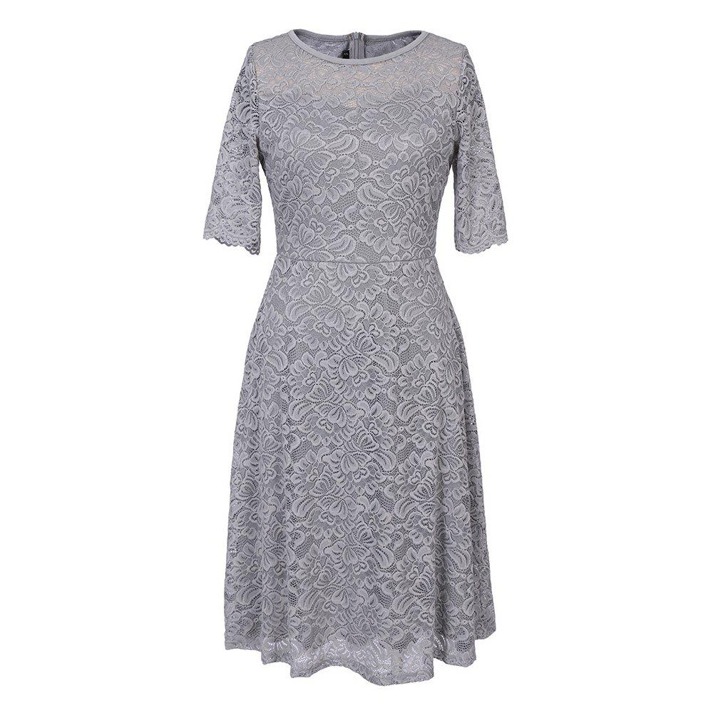 New Summer Fashion Casual O-neck Three Quarter Sleeve Lace Hollow Out Slim Solid Women Dress женское платье summer dress 2015cute o women dress
