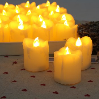 Set of 12pcs Flameless LED Votive Candle with dripping - IVORY WHITE 12PCS