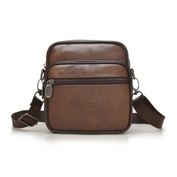 Cow Leather Men's Casual Fashion Shouler Crossbody Bag - BROWN BROWN