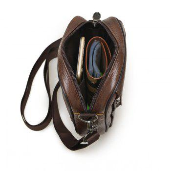 Cow Leather Men's Casual Fashion Shouler Crossbody Bag -  BROWN