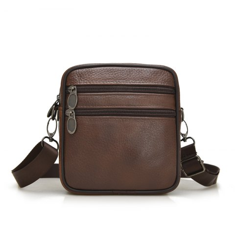 Cow Leather Multiple Zipper Casual Shoulder Waist Crossbody bag - BROWN