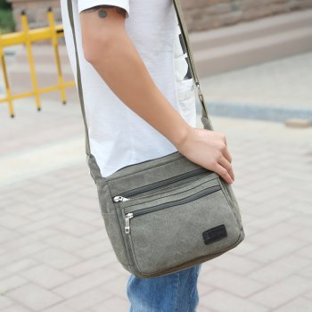 Casual Fashion Multiple Zipper Shoulder Crossbody Bag - GREEN