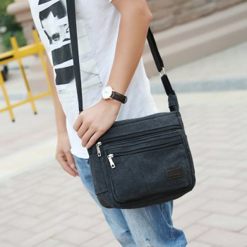 Casual Fashion Multiple Zipper Shoulder Crossbody Bag - BLACK
