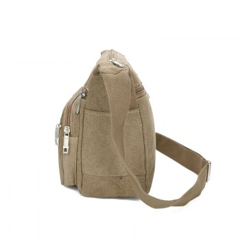 Canvas Casual Fashion Multiple Zipper Shoulder Crossbody Bag - KAHKI