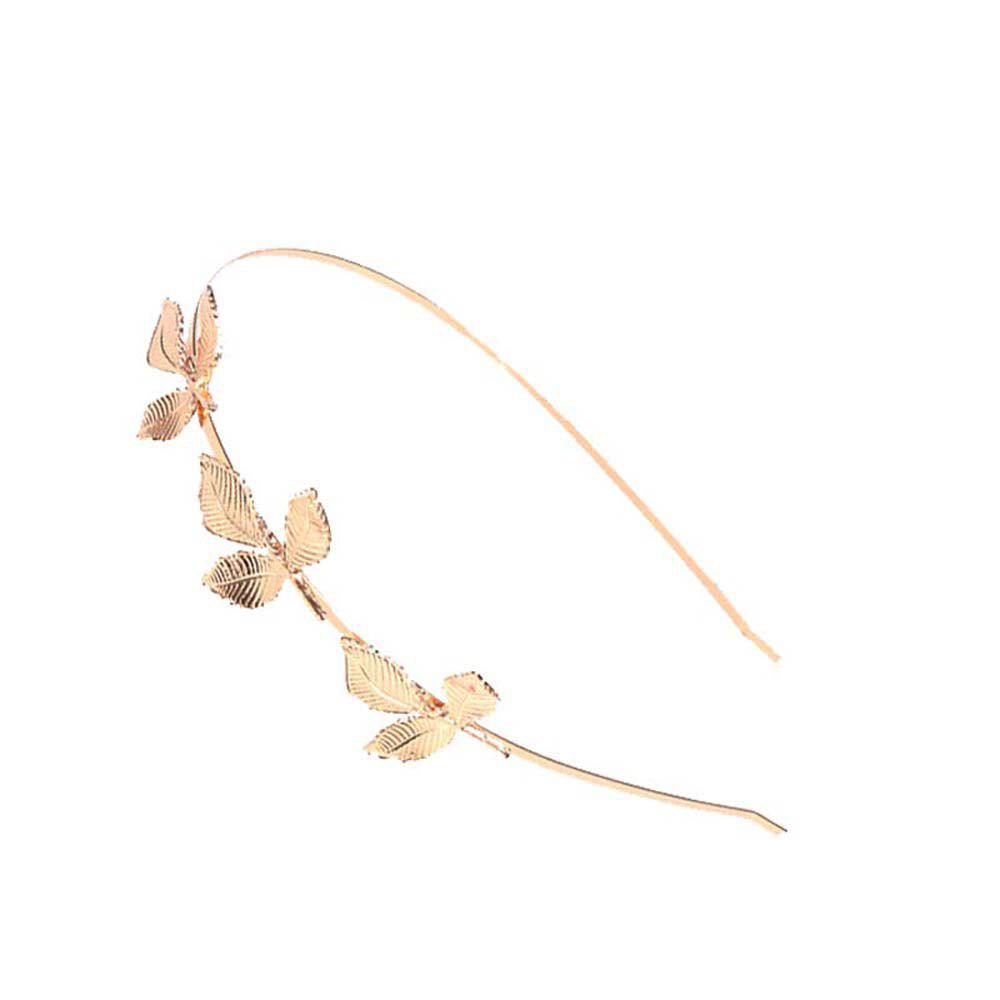 Fashion  Leaves Metal  Alloy Hair Card Three Leaves Fine Head Hoop - GOLDEN