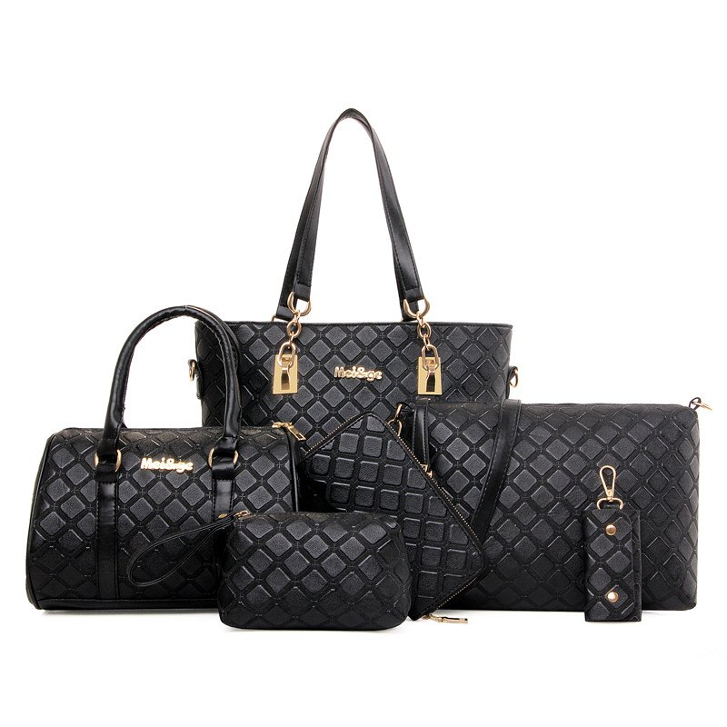 Six Pieces Fashion The Plaid Female Bag - BLACK