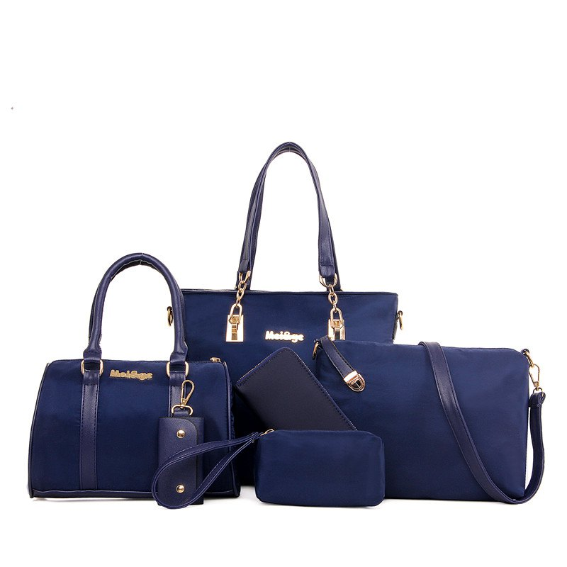 Six Pieces Nylon Fabric Fashion Female Package Bag - BLUE
