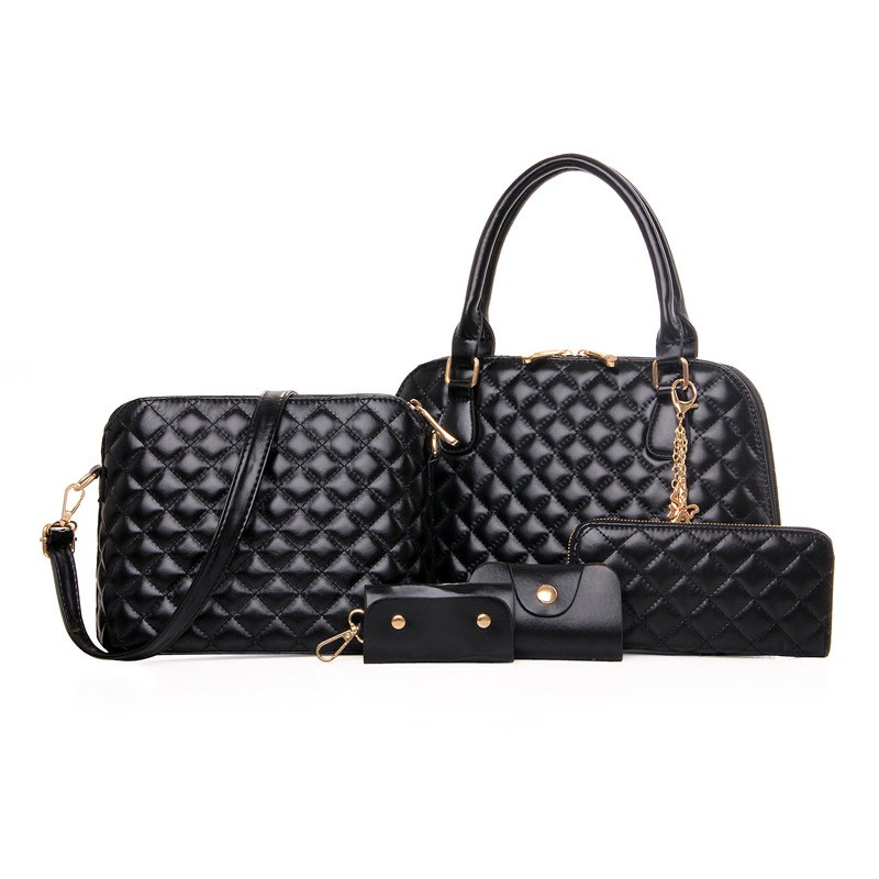 Five Pieces Fashion Embroider Line Lattice Shell Female Bag - BLACK