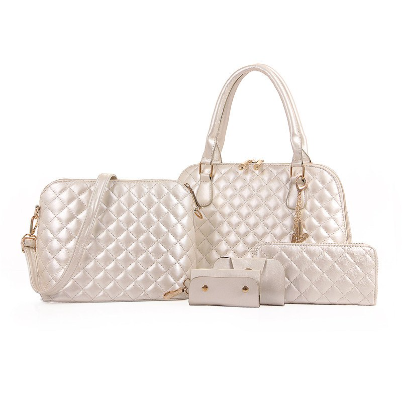 Five Pieces Fashion Embroider Line Lattice Shell Female Bag - WHITE