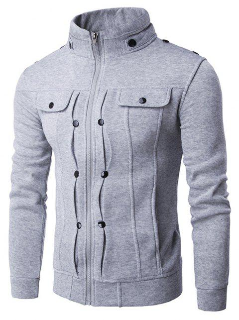 Stand Collar Zipper Solid Color Buttons Slim Fit Men'S Jacket - GRAY M