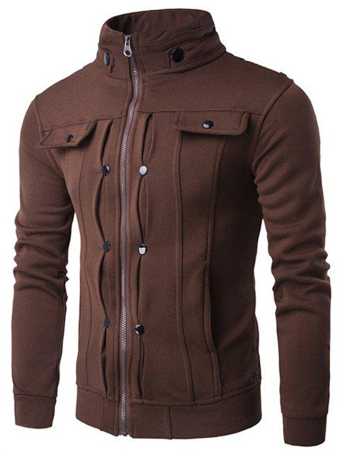 Stand Collar Zipper Solid Color Buttons Slim Fit Men'S Jacket - COFFEE M