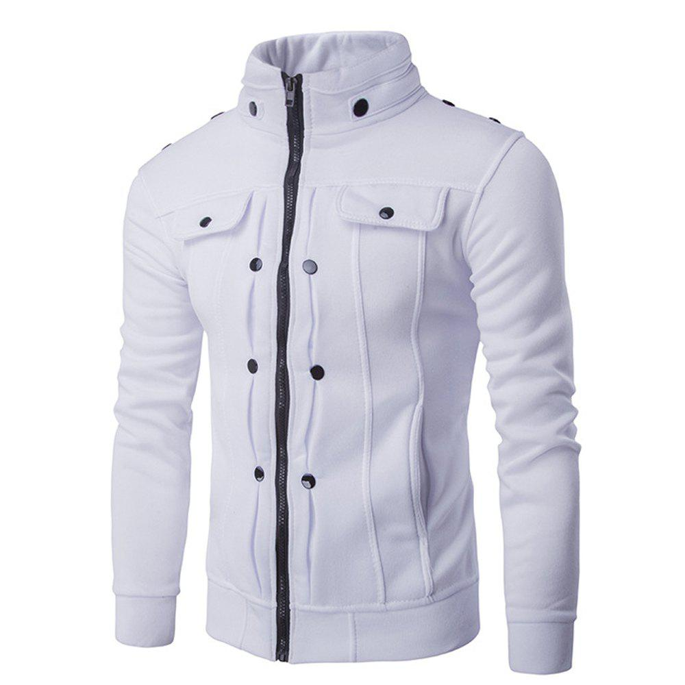 Stand Collar Zipper Solid Color Buttons Slim Fit Men'S Jacket - WHITE L