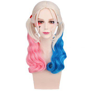 Long Blonde Ombre Blue and Pink Wavy Braid Hair Heat Resistant Synthetic Cosplay Wigs - GRADIENT GRADIENT