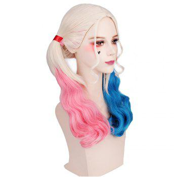Long Blonde Ombre Blue and Pink Wavy Braid Hair Heat Resistant Synthetic Cosplay Wigs - GRADIENT