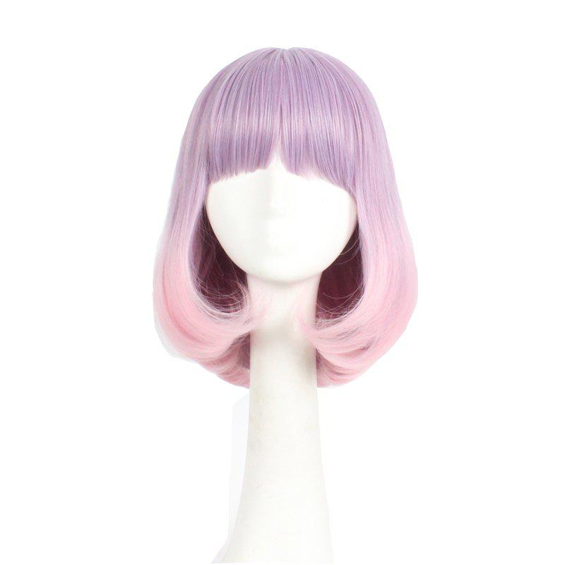 Straight Synthetic Wig With Bangs Pink Color Bob Style Classic Full Cap Wig For Girls - MIXED COLOUR