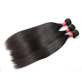 Brazilian Silky Straight Virgin Human Hair Weave Exention 3 Pieces 8 inch - 28 inch - BLACK 24INCH*24INCH*26INCH