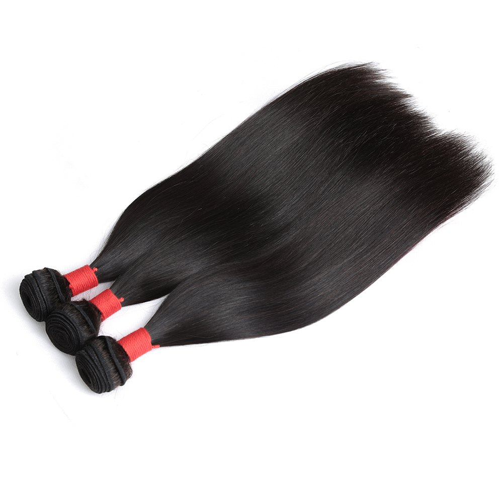Brazilian Silky Straight Virgin Human Hair Weave Exention 3 Pieces 8 inch - 28 inch - BLACK 14INCH*14INCH*16INCH