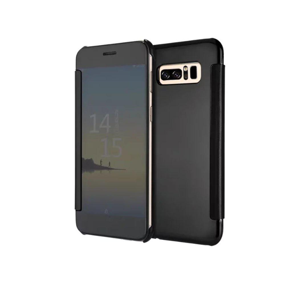 Plating Mirror Bracket Triad Intelligent Dormancy Clamshel Case for Samsung Note 8 - BLACK